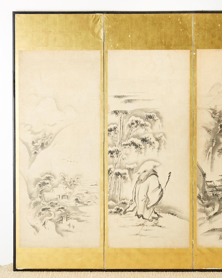 Hand-Crafted Japanese Edo Six-Panel Haboku Landscapes of Seasons For Sale