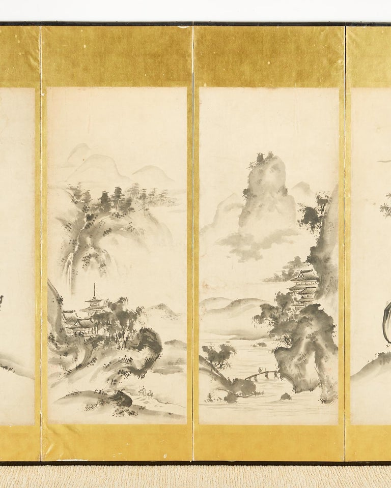 Japanese Edo Six-Panel Haboku Landscapes of Seasons In Good Condition For Sale In Rio Vista, CA