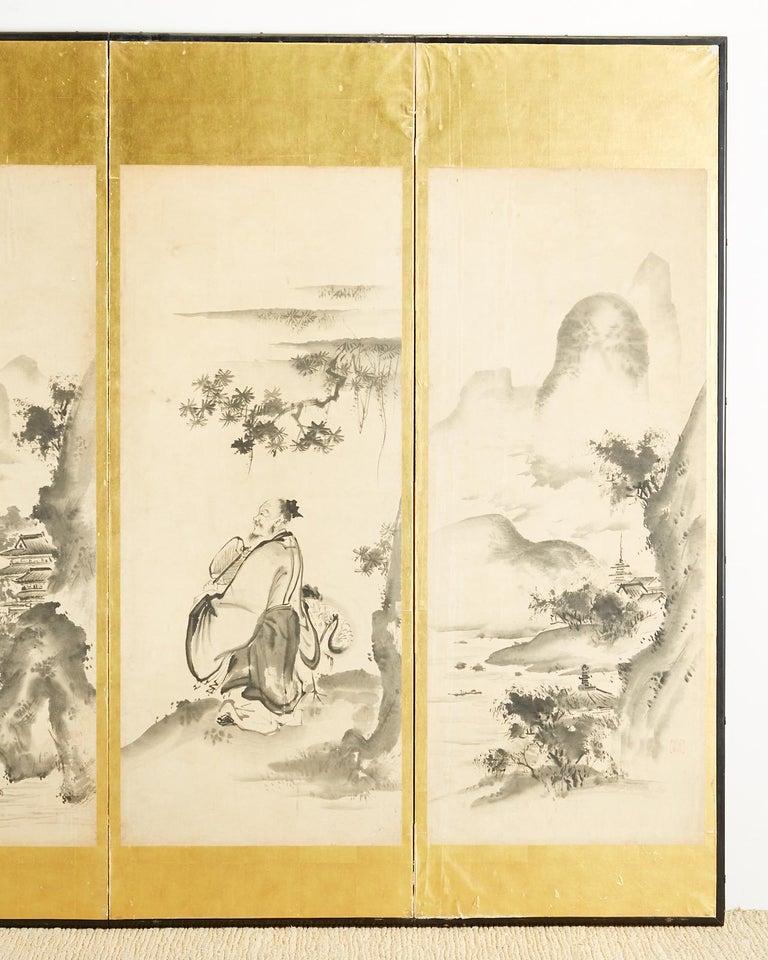 19th Century Japanese Edo Six-Panel Haboku Landscapes of Seasons For Sale