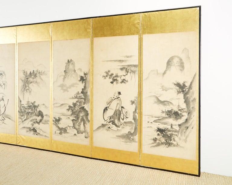 Wood Japanese Edo Six-Panel Haboku Landscapes of Seasons For Sale