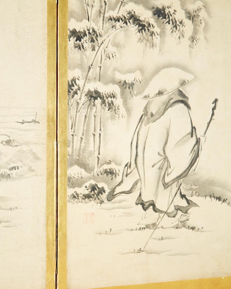 Japanese Edo Six-Panel Haboku Landscapes of Seasons For Sale 1