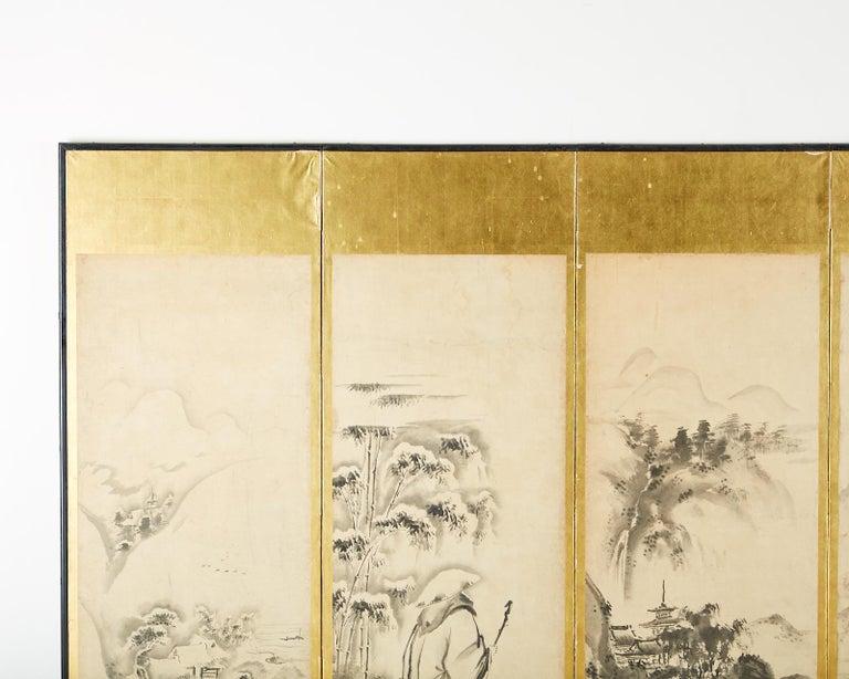 Japanese Edo Six-Panel Haboku Landscapes of Seasons For Sale 2