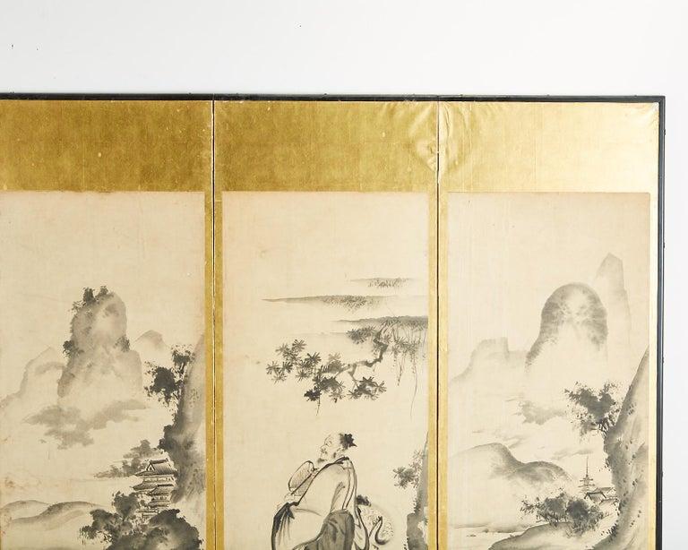 Japanese Edo Six-Panel Haboku Landscapes of Seasons For Sale 3