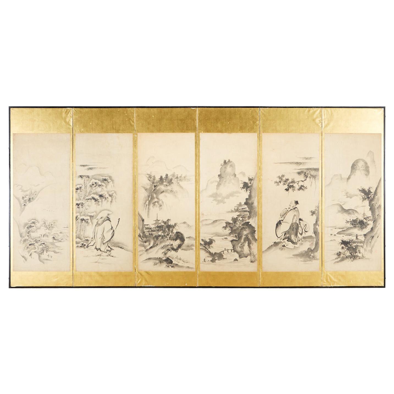 Japanese Edo Six-Panel Haboku Landscapes of Seasons