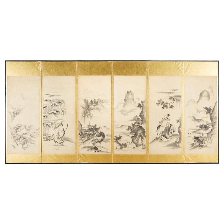 Japanese Edo Six-Panel Haboku Landscapes of Seasons For Sale