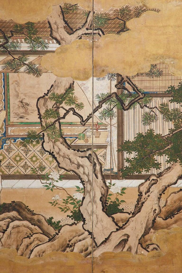 Japanese Edo Six-Panel Kano Screen Emperor Garden Terrace For Sale 4