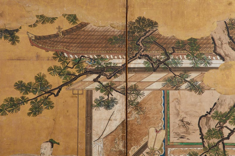 Japanese Edo Six-Panel Kano Screen Emperor Garden Terrace For Sale 5
