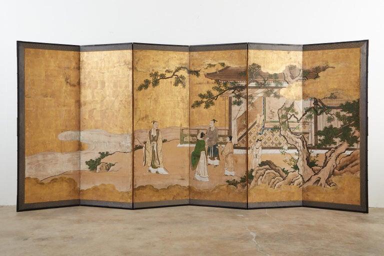 Japanese Edo Six-Panel Kano Screen Emperor Garden Terrace For Sale 6