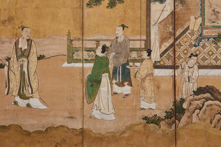 Japanese Edo Six-Panel Kano Screen Emperor Garden Terrace For Sale 7