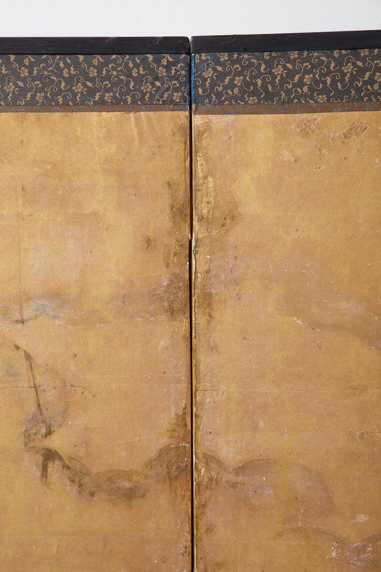 Japanese Edo Six-Panel Kano Screen Emperor Garden Terrace For Sale 9