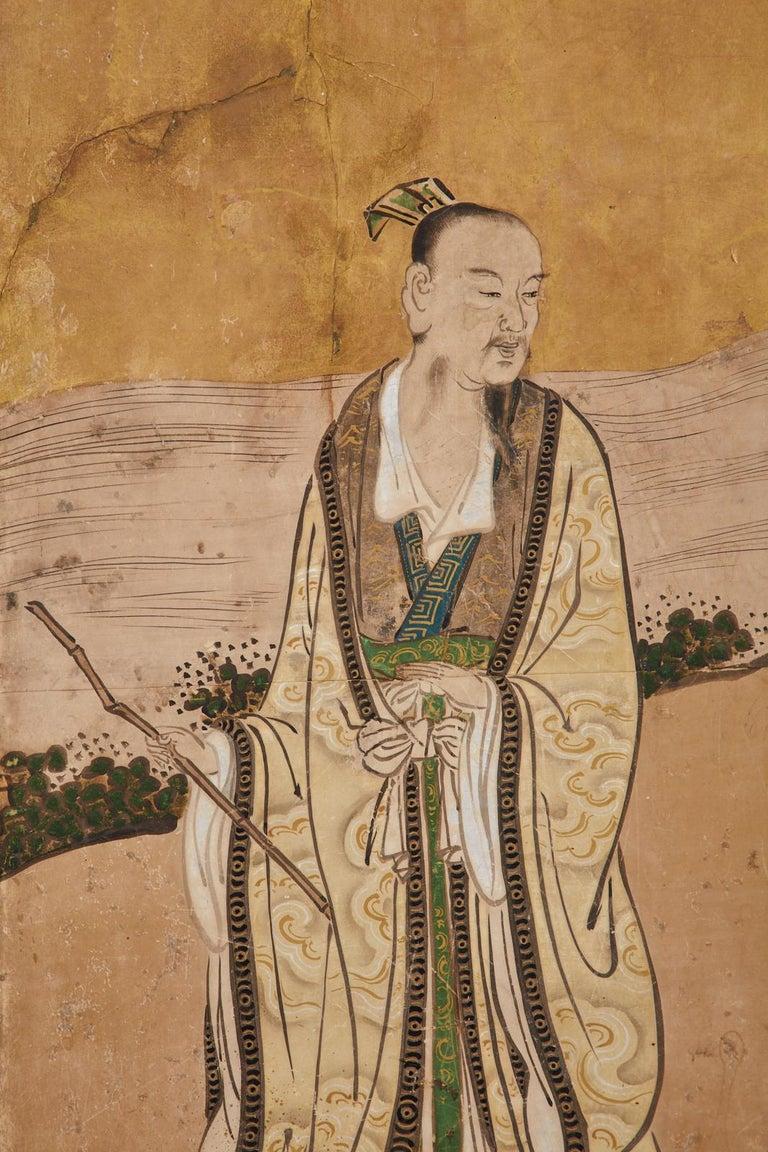 Japanese Edo Six-Panel Kano Screen Emperor Garden Terrace For Sale 10