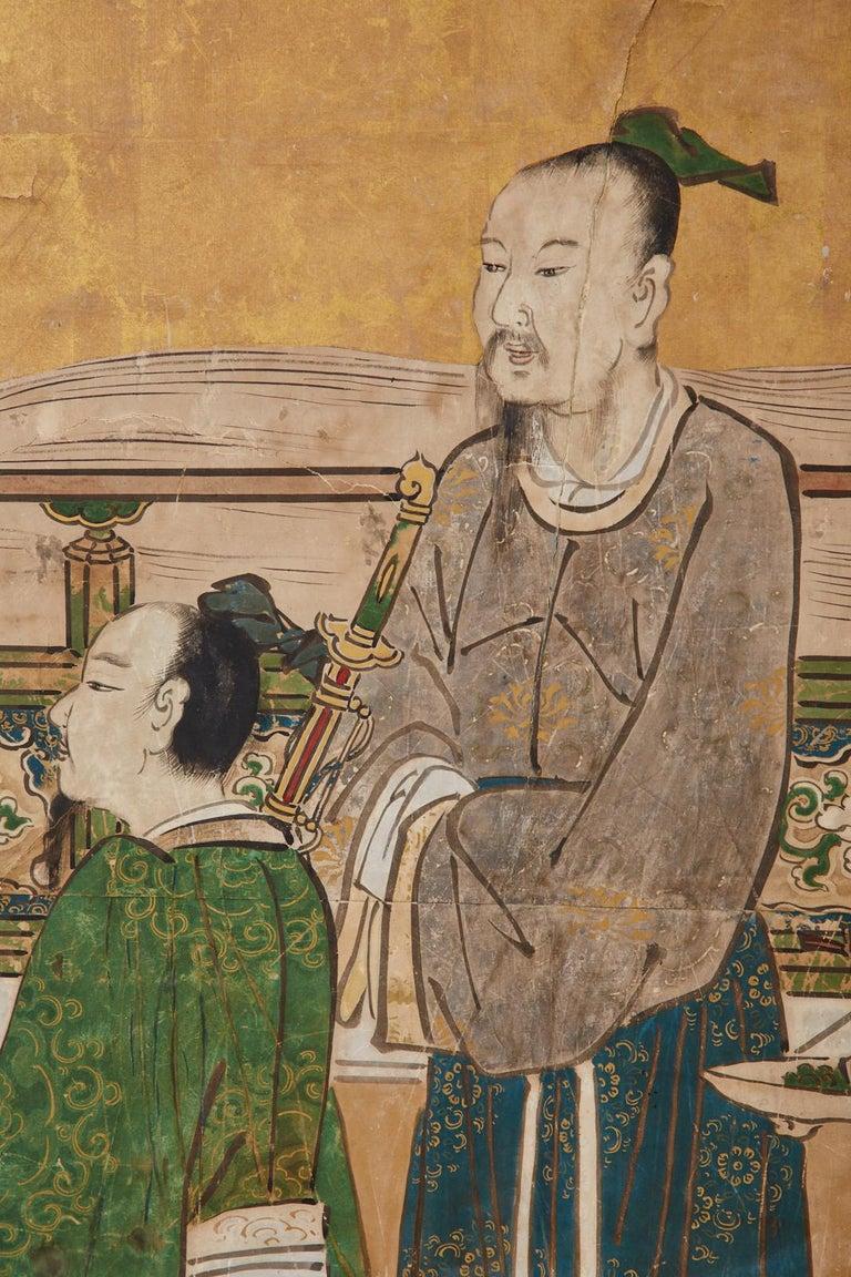 Japanese Edo Six-Panel Kano Screen Emperor Garden Terrace For Sale 11