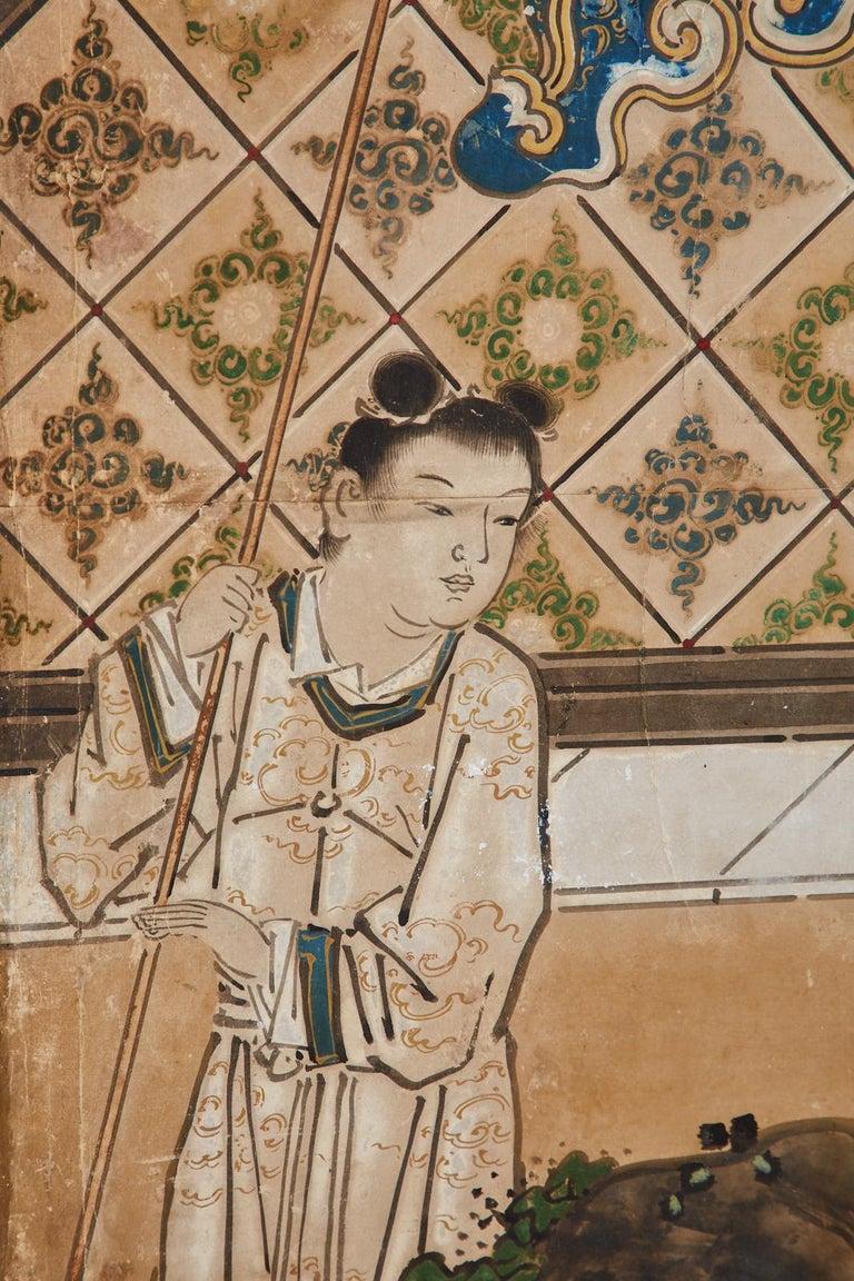 Japanese Edo Six-Panel Kano Screen Emperor Garden Terrace For Sale 12