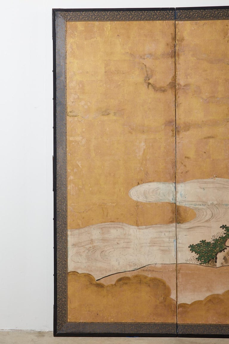 Ebonized Japanese Edo Six-Panel Kano Screen Emperor Garden Terrace For Sale