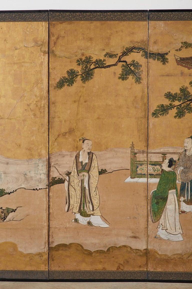 Japanese Edo Six-Panel Kano Screen Emperor Garden Terrace In Fair Condition For Sale In Oakland, CA