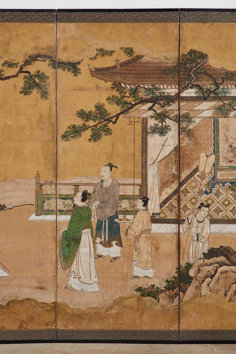 18th Century and Earlier Japanese Edo Six-Panel Kano Screen Emperor Garden Terrace For Sale