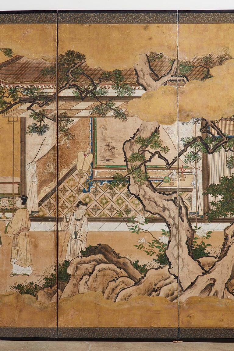 Wood Japanese Edo Six-Panel Kano Screen Emperor Garden Terrace For Sale