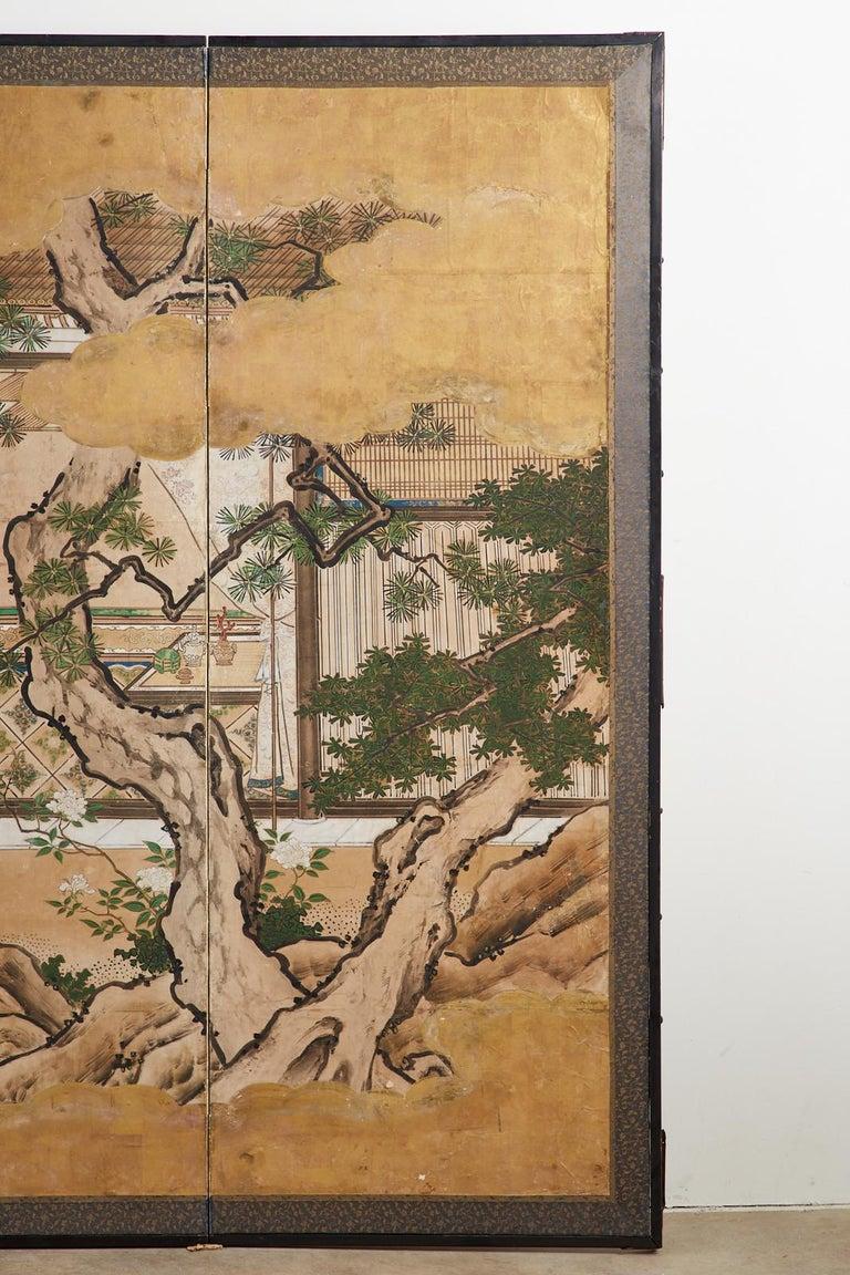 Japanese Edo Six-Panel Kano Screen Emperor Garden Terrace For Sale 1