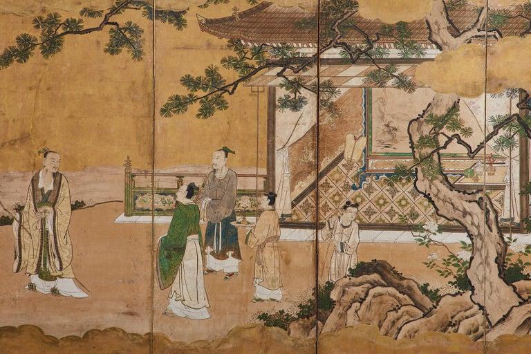 Japanese Edo Six-Panel Kano Screen Emperor Garden Terrace For Sale 2