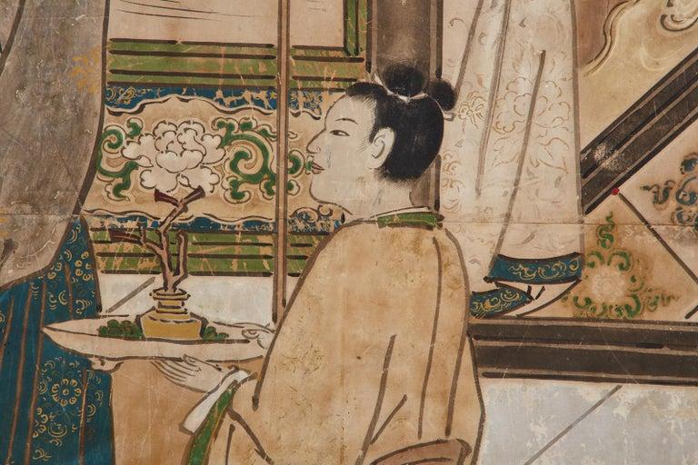 Japanese Edo Six-Panel Kano Screen Emperor Garden Terrace For Sale 3