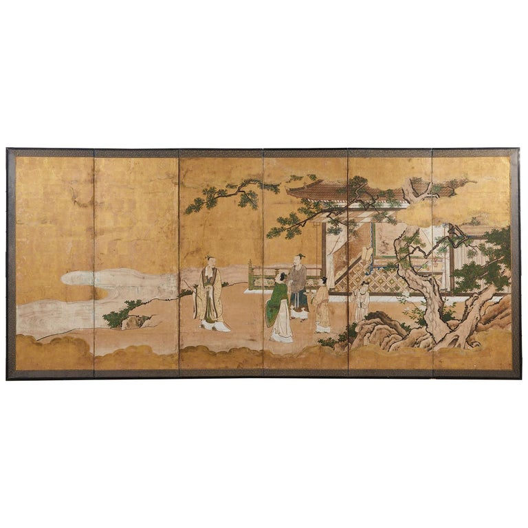 Japanese Edo Six-Panel Kano Screen Emperor Garden Terrace For Sale