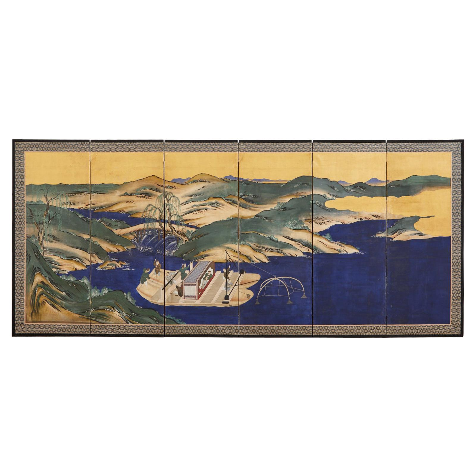 Japanese Edo Six Panel Screen Chinese Fishing Boat Landscape