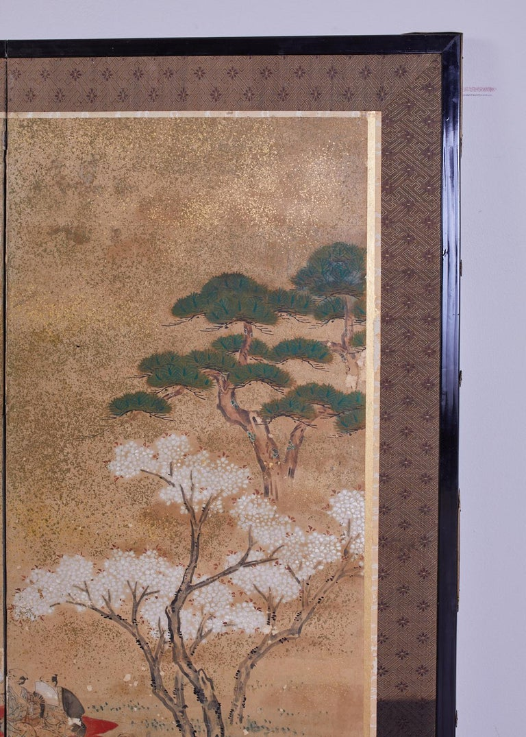 Japanese Edo Six-Panel Screen Feasting Under Cherry Blossoms For Sale 4