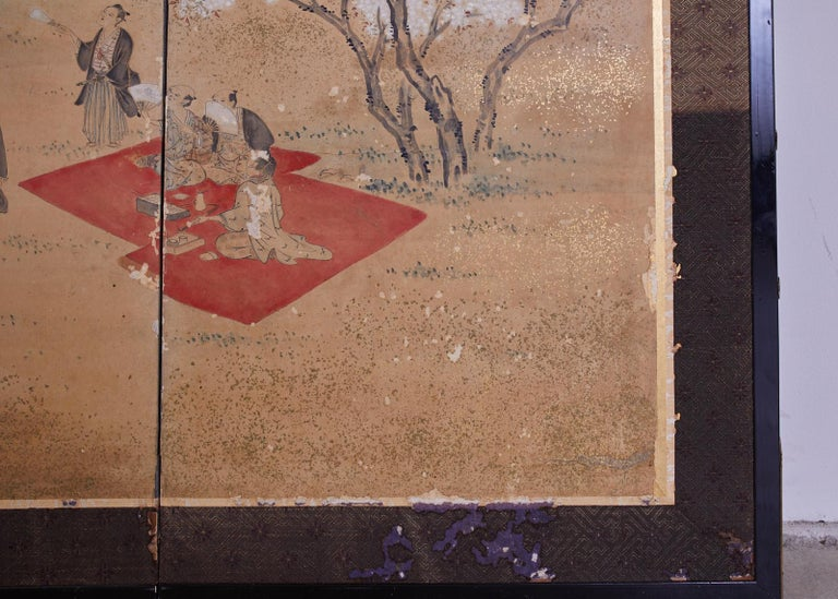 Japanese Edo Six-Panel Screen Feasting Under Cherry Blossoms For Sale 5