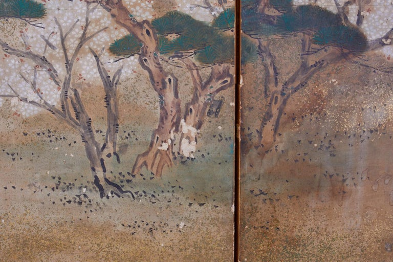 Japanese Edo Six-Panel Screen Feasting Under Cherry Blossoms For Sale 6