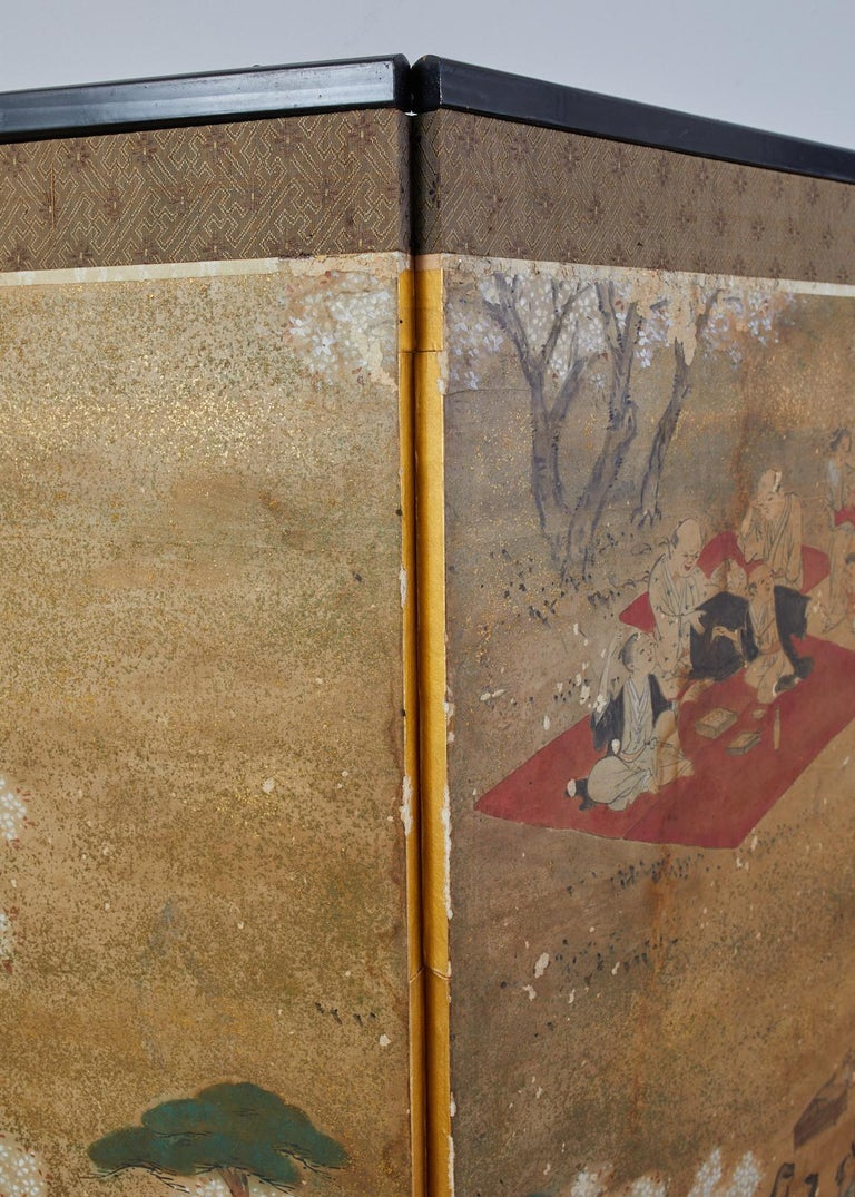 Japanese Edo Six-Panel Screen Feasting Under Cherry Blossoms For Sale 7