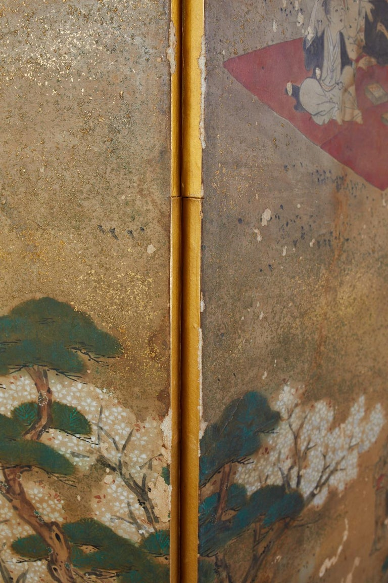 Japanese Edo Six-Panel Screen Feasting Under Cherry Blossoms For Sale 8