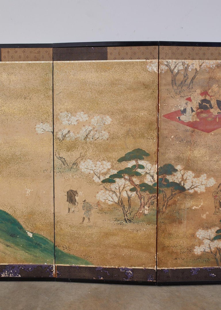 Lacquered Japanese Edo Six-Panel Screen Feasting Under Cherry Blossoms For Sale