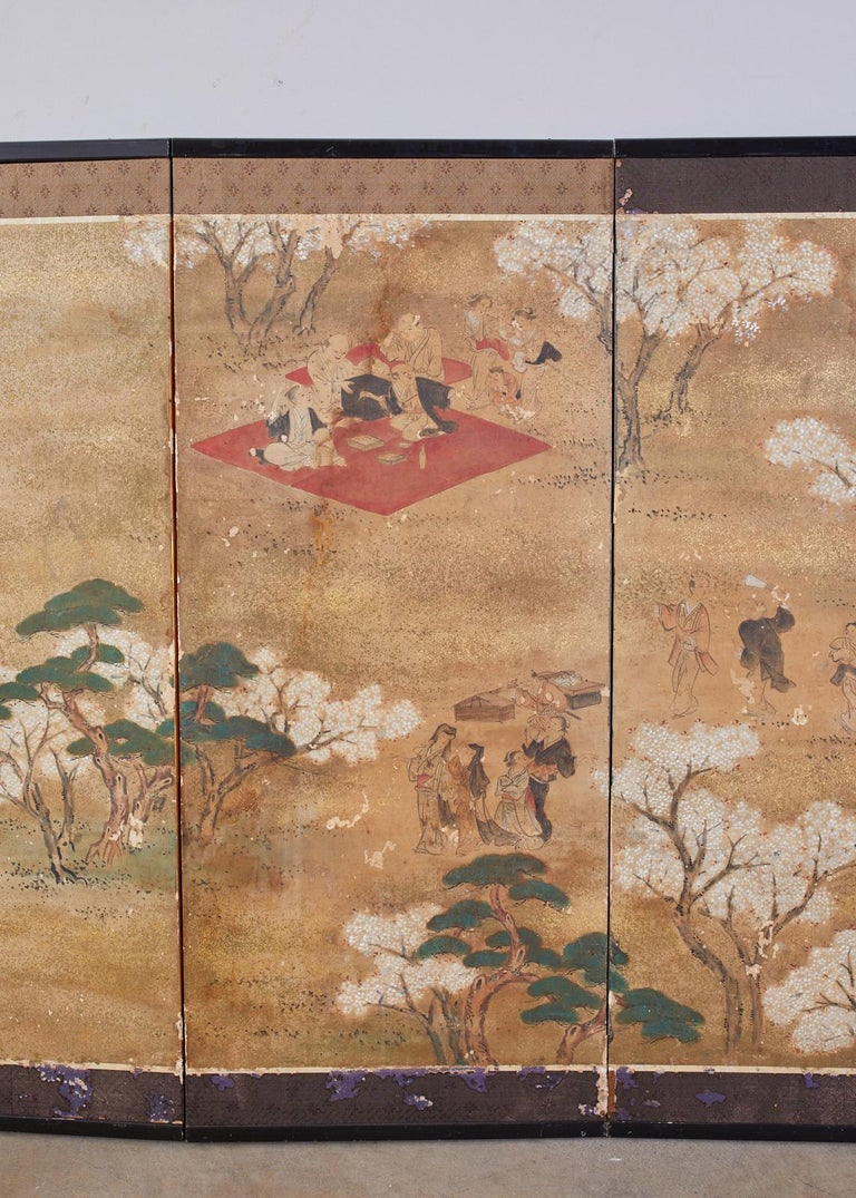 Japanese Edo Six-Panel Screen Feasting Under Cherry Blossoms In Fair Condition For Sale In Oakland, CA