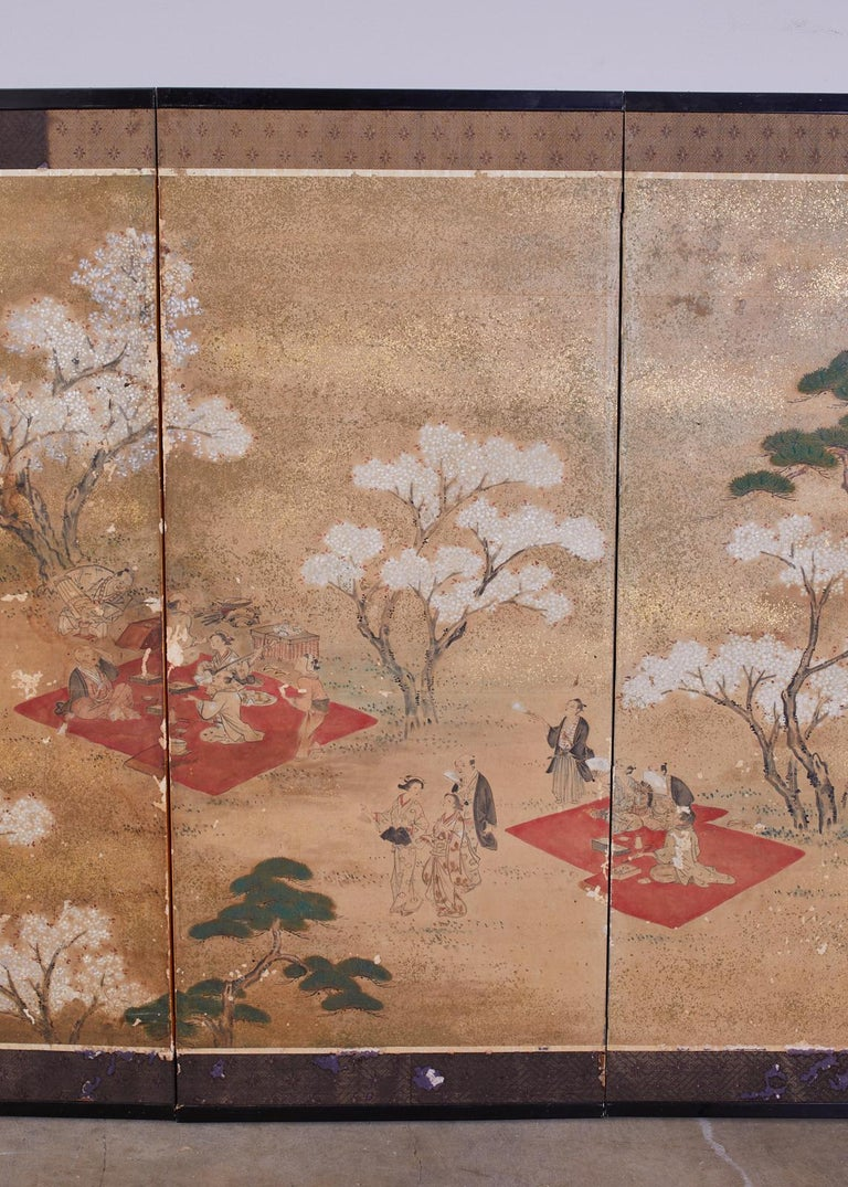 18th Century and Earlier Japanese Edo Six-Panel Screen Feasting Under Cherry Blossoms For Sale