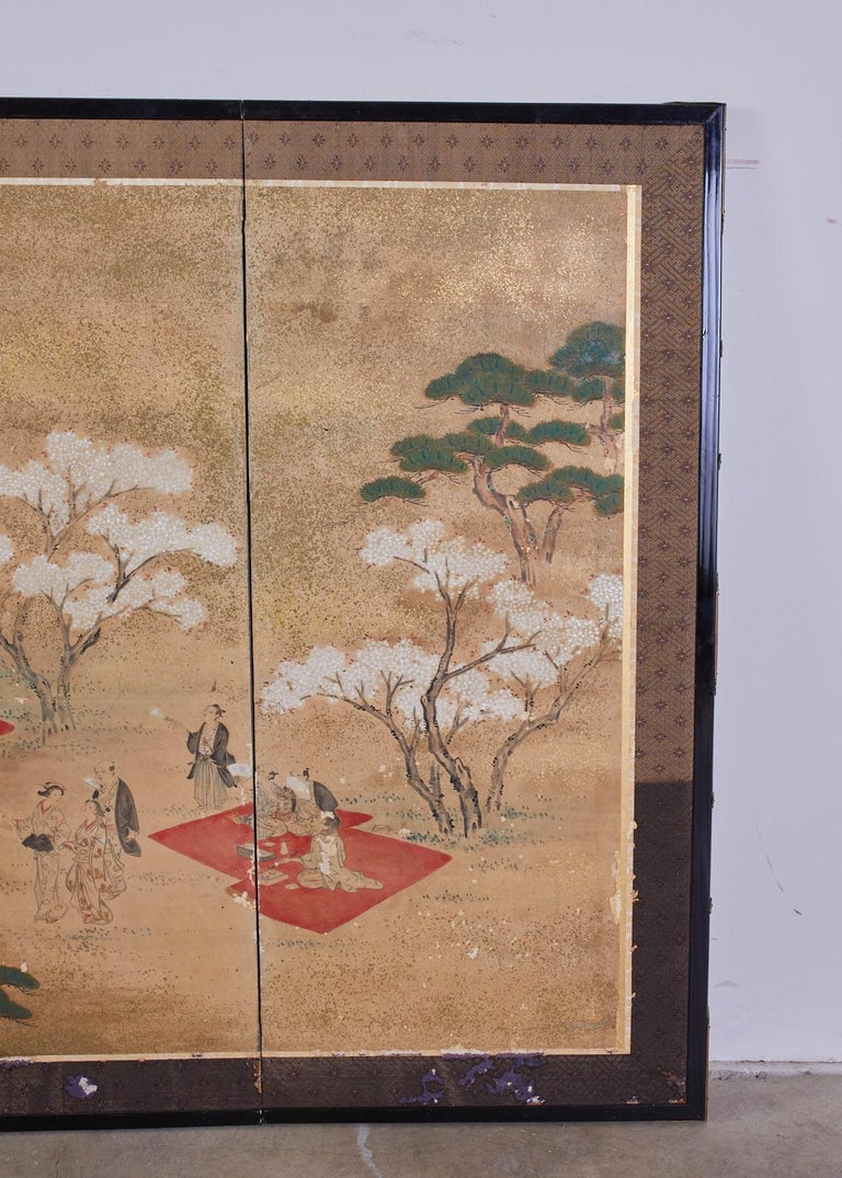 Brass Japanese Edo Six-Panel Screen Feasting Under Cherry Blossoms For Sale
