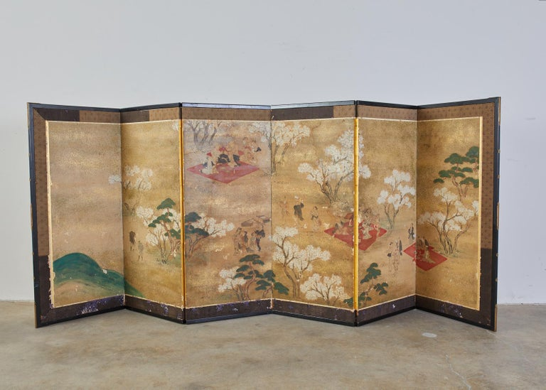 Japanese Edo Six-Panel Screen Feasting Under Cherry Blossoms For Sale 1