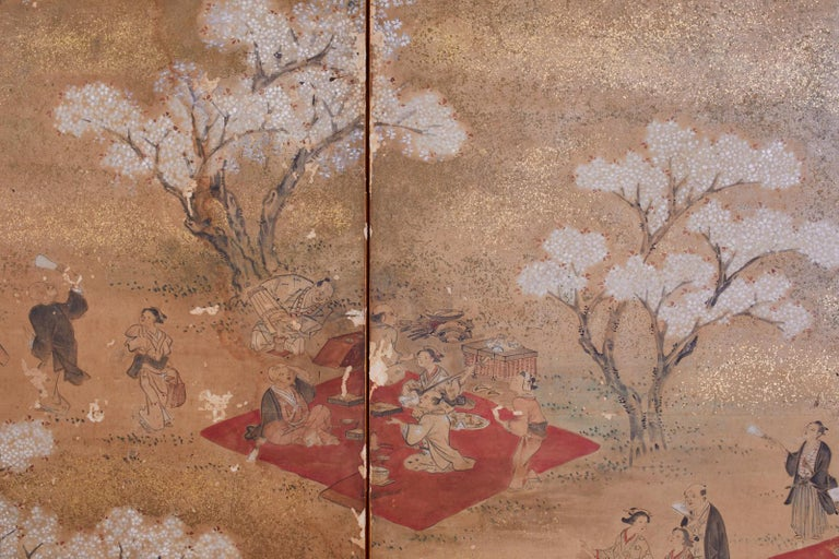 Japanese Edo Six-Panel Screen Feasting Under Cherry Blossoms For Sale 3