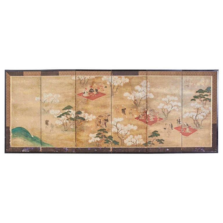 Japanese Edo Six-Panel Screen Feasting Under Cherry Blossoms For Sale