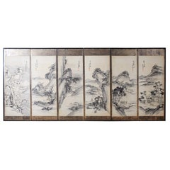 Japanese Edo Six-Panel Screen of Mountain Landscapes