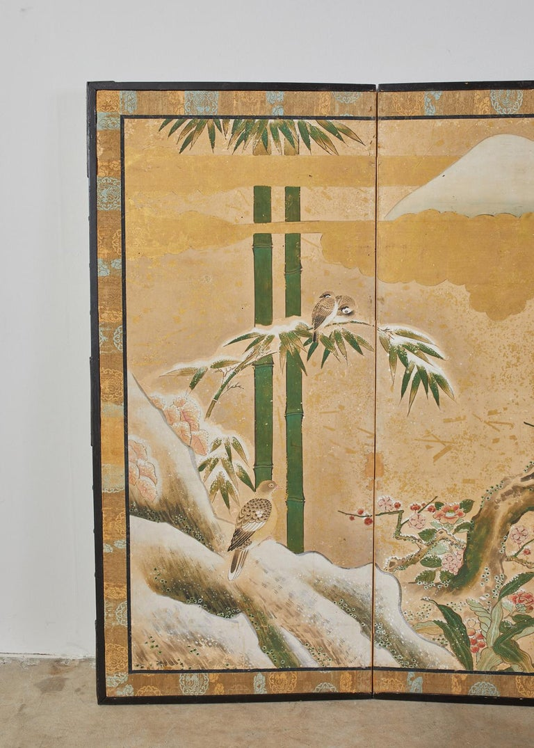 Hand-Crafted Japanese Edo Six-Panel Screen Seasonal Winter Landscape For Sale