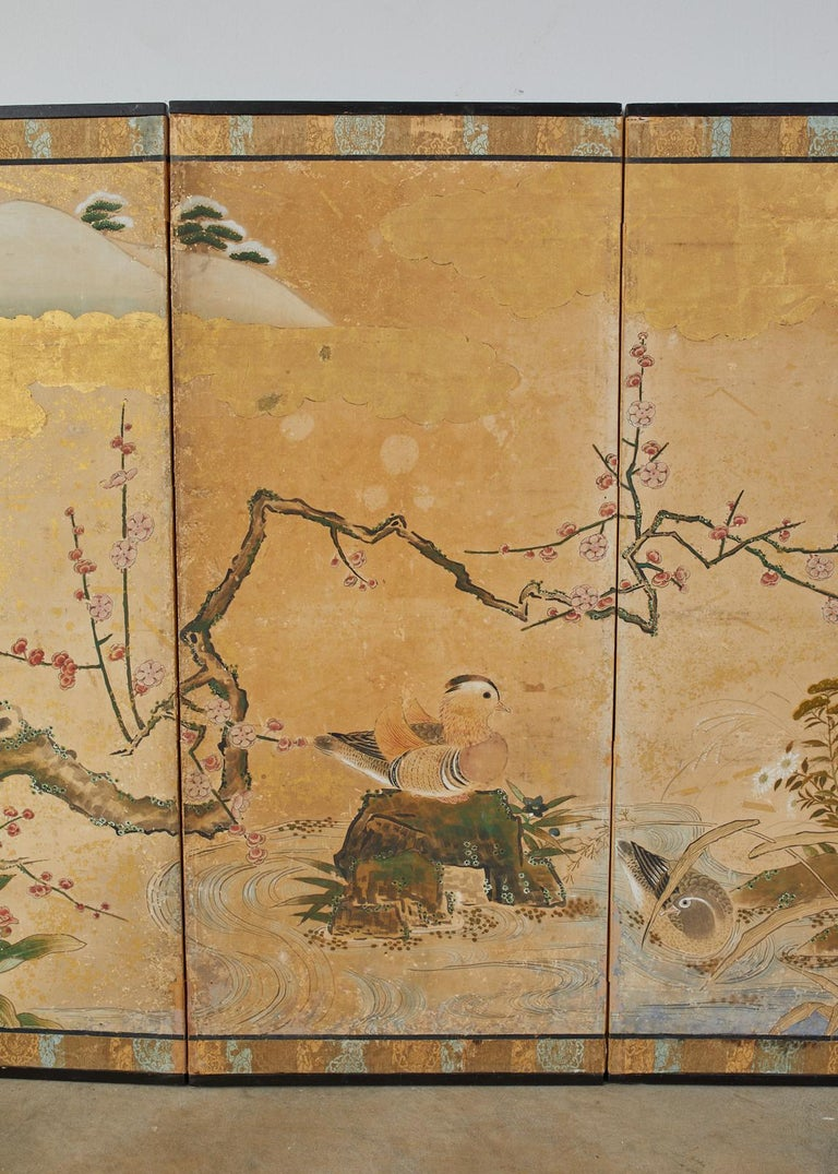 Japanese Edo Six-Panel Screen Seasonal Winter Landscape In Fair Condition For Sale In Oakland, CA