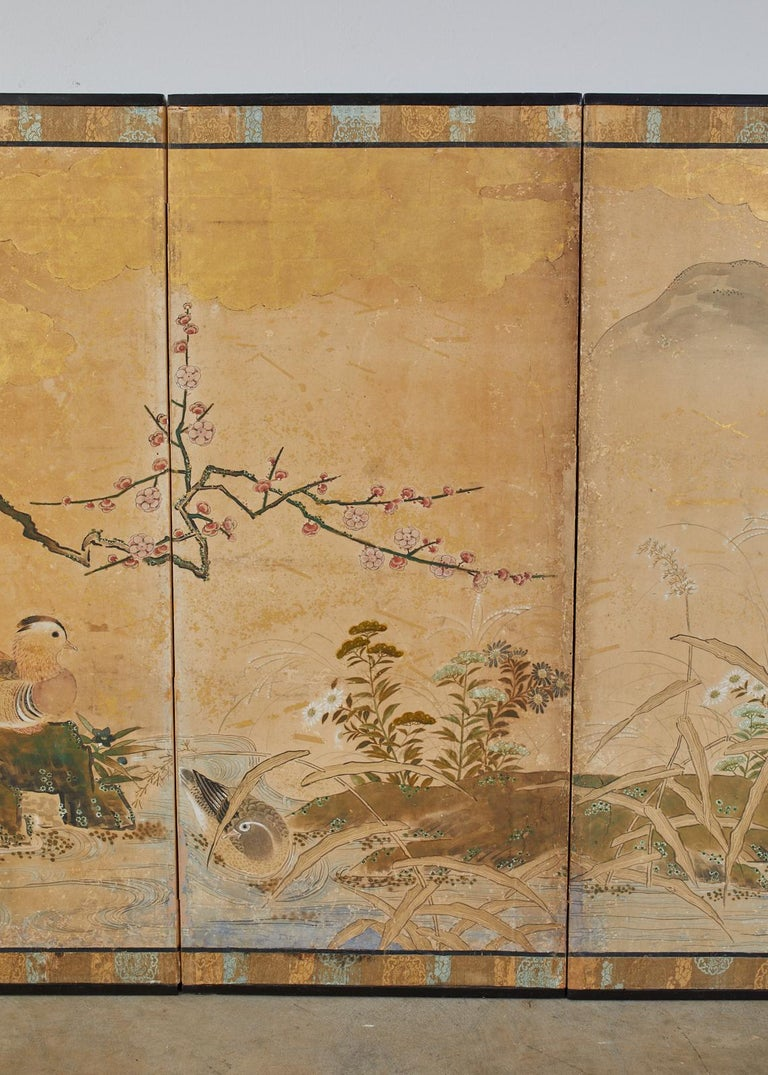 18th Century and Earlier Japanese Edo Six-Panel Screen Seasonal Winter Landscape For Sale
