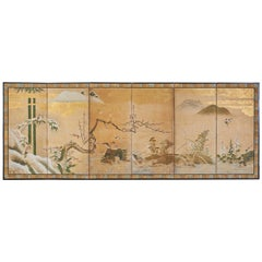 Japanese Edo Six-Panel Screen Seasonal Winter Landscape