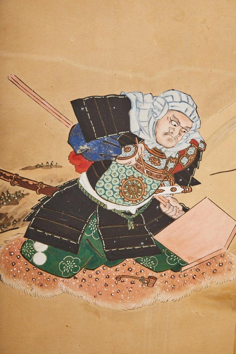 Japanese Edo Six Panel Screen Yoshitsune and Benkei For Sale 4