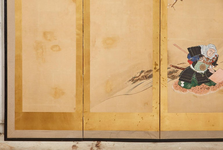 Japanese Edo Six Panel Screen Yoshitsune and Benkei For Sale 5