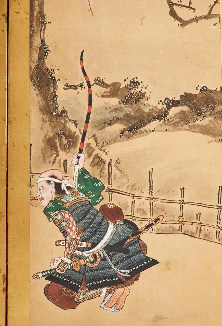 Japanese Edo Six Panel Screen Yoshitsune and Benkei For Sale 6
