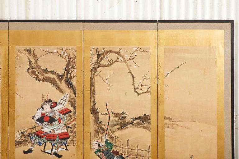 Japanese Edo Six Panel Screen Yoshitsune and Benkei For Sale 7