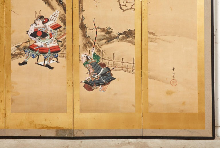 Japanese Edo Six Panel Screen Yoshitsune and Benkei For Sale 8