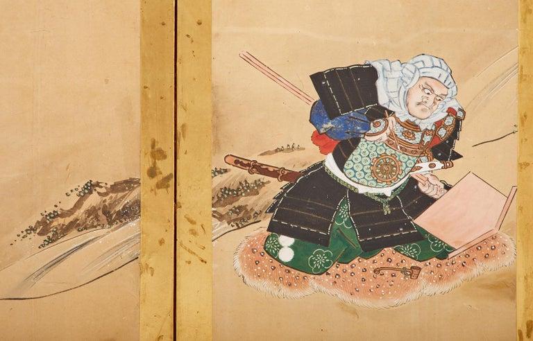 Japanese Edo Six Panel Screen Yoshitsune and Benkei For Sale 9