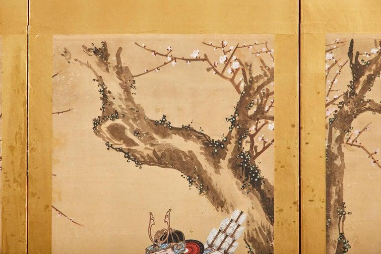 Japanese Edo Six Panel Screen Yoshitsune and Benkei For Sale 10